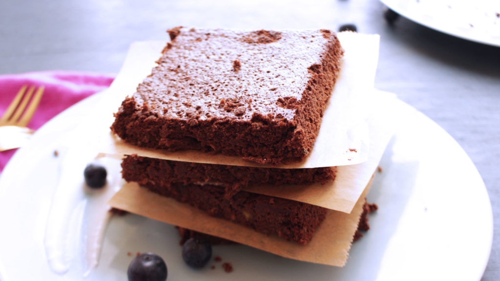 parts de fondant chocolat et courgette